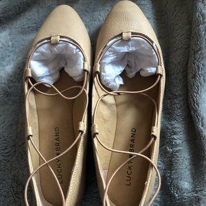 LUCKY BRAND NIB Lace-up Ballet Flats